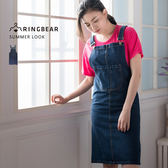 牛仔連身裙--潮流氣質中厚感丹寧多口袋開衩後襬吊帶窄裙(藍M-2L)-Q83眼圈熊中大尺碼