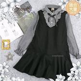 (大童款-女)荷葉領邊格子假兩件薄長袖洋裝(280266)★水娃娃時尚童裝★
