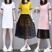 短袖裙裝大碼遮肚子洋氣套裝胖mm夏裝顯瘦200斤女胖妹妹蕾絲連身裙兩件套 科炫數位