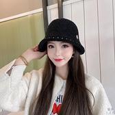 漁夫帽女冬季羊羔毛加厚保暖毛絨秋針織帽【極簡生活】