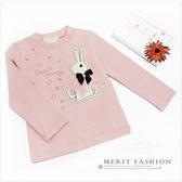 兔子娃娃蝴蝶結貼鑽長袖上衣 可愛 甜美 韓版 公主 粉紅 粉色 韓國棉 秋冬 女童 童裝