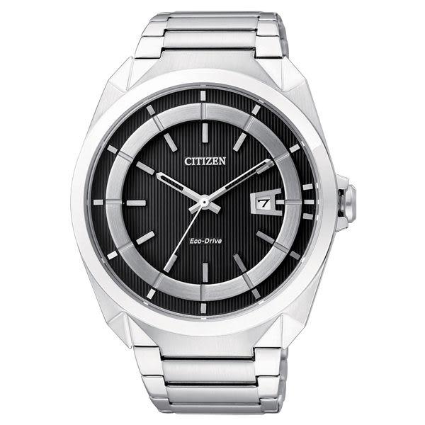 CITIZEN 率性潮流光動能經典腕錶(銀黑)