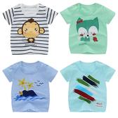 短袖上衣 卡通動物 透氣T恤 肩開嬰兒服 男女寶寶童裝 HY00815 好娃娃
