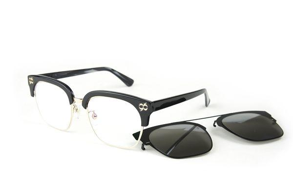 YuYu-ChangChiaYu 時尚太陽眼鏡 BEING 平光系列+ 前掛式太陽眼鏡- 黑色(曜黑內斂)