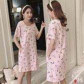 睡裙女夏季短袖純棉睡衣寬鬆卡通甜美可外穿家居服 【格林世家】