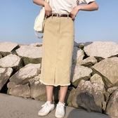 長裙女裝韓版夏季高腰顯瘦流蘇邊開叉牛仔裙