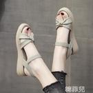 平底涼鞋 厚底涼鞋女新款夏季平底女鞋一字帶軟底軟皮仙女風沙灘涼鞋 韓菲兒