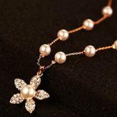 項鍊 玫瑰金純銀 珍珠吊墜-亮麗花朵生日情人節禮物女飾品73bw20【時尚巴黎】