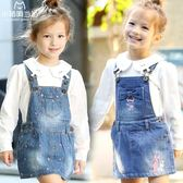 萬聖節狂歡   兒童背帶裙寶寶裙子2018春季新韓版小孩中大童半身裙女童裝牛仔裙  無糖工作室