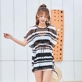 泳衣(三件套)-韓版時尚條紋四角女比基尼2色73rz13[時尚巴黎]