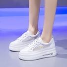 厚底小白鞋女2021夏新款小雛菊內增高鬆糕鞋時尚網紗透氣單鞋板鞋 快速出貨