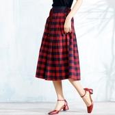棉麻長裙-高貴經典格子造型半身女裙子2色73hr21【巴黎精品】