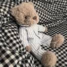 玩偶 紳士熊睡衣安撫玩偶兒童女生生日禮物毛絨玩具領結泰迪小熊公仔【快速出貨八折下殺】