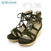 【Bo Derek 】羅馬綁帶楔型厚底涼鞋-綠色