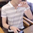 男士帶領短袖t恤男2019夏裝新款半袖潮流修身襯衫領男裝有領衣服
