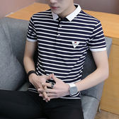 【618好康鉅惠】夏季男士時尚襯衫領條紋短袖T恤潮流POLO衫