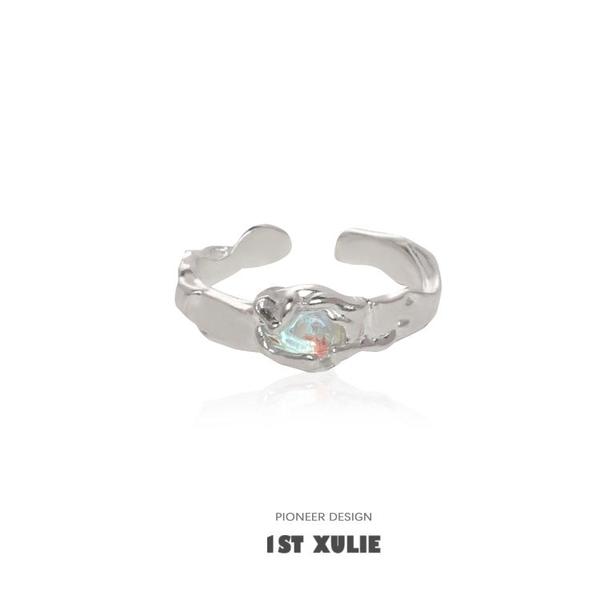 純銀戒指 1STXULIE原創小眾設計純銀戒指月光石鑲鉆簡約冷淡風女開口食指戒【萬聖節限時】