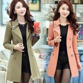 風衣 春季新款寬版修身雙排扣百搭氣質顯瘦中長款女裝長袖風衣外套【免運直出】