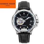 【萬年鐘錶】Giorgio Fedon 1919義大利工藝  TIMELESS IV 黑x銀x黑皮帶  GFBG001