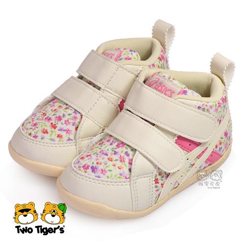 【熱銷款】ASICS 亞瑟士 SUKU2 粉紅碎花 高筒魔鬼氈 寶寶鞋/小童鞋 NO.R2915
