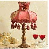 歐式結婚檯燈婚房新婚慶創意溫馨臥室床頭燈紅色檯燈(普通版)