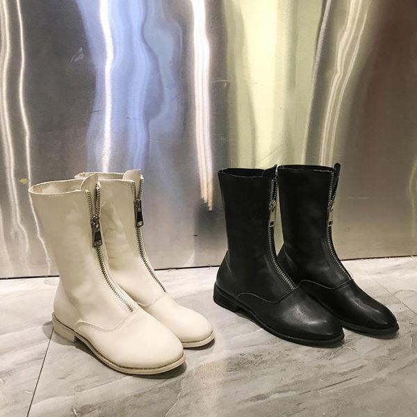 2018新款復古做舊前拉鏈馬丁靴子女低跟中筒帥氣騎士短靴潮酷