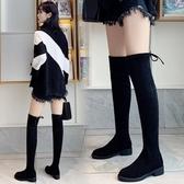 過膝長靴女2019秋冬新款百搭平底彈力長筒靴子5050高筒網紅瘦瘦靴