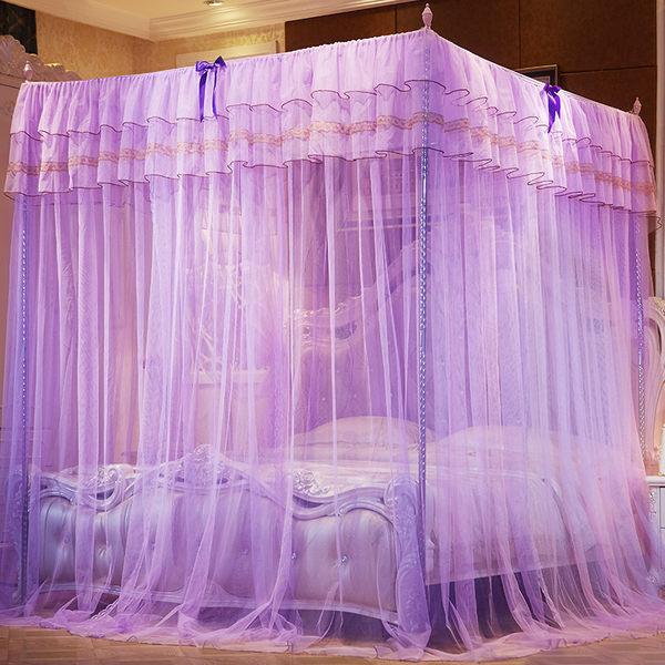 蚊帳1.5m三開門落地支架1.8m床雙人家用公主風1.2米紋帳加密加厚JD 限時搶購