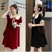 漂亮小媽咪 韓系 洋裝 【D5989】 質感 純色 高雅 荷葉袖 娃娃領 短袖 孕婦洋裝 孕婦裝