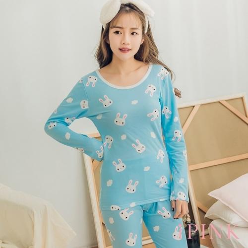 i PINK 舒柔好眠 發熱內刷毛貼身棉質居家睡衣套裝(藍兔)