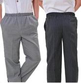 西褲 廚師褲子鬆緊褲腰 夏季廚師透氣黑色工作服廚師褲 廚師服工作褲 千惠衣屋