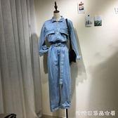 春韓版牛仔連體褲女長袖收腰淺藍色寬鬆bf風工裝連體套裝女潮 糖糖日系森女屋