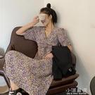 2020新款桔梗法式收腰紫色小碎花連身裙女氣質裙子赫本風長裙『小淇嚴選』