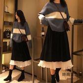大碼女裝套裝遮肉顯瘦兩件套  毛衣 半身長裙【時尚大衣櫥】