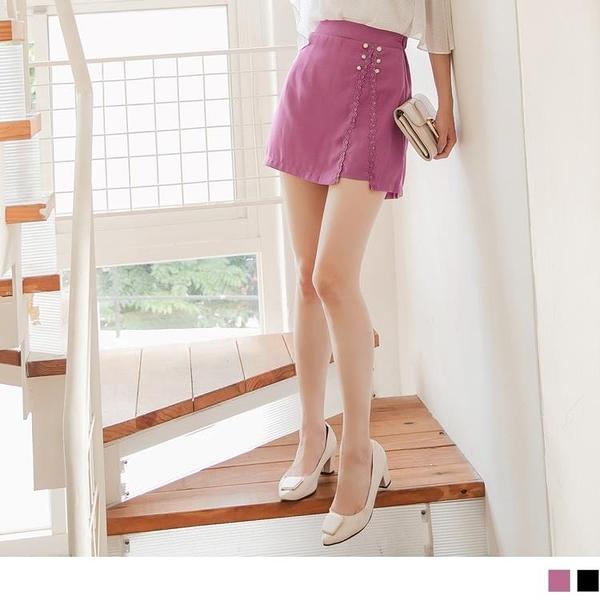 《CA2064-》蕾絲花邊綴珍珠釦後腰鬆緊A字短裙-褲型內裡 OB嚴選