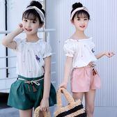 *╮S13小衣衫╭*中大童甜美泡泡短袖上衣短褲套裝1070516