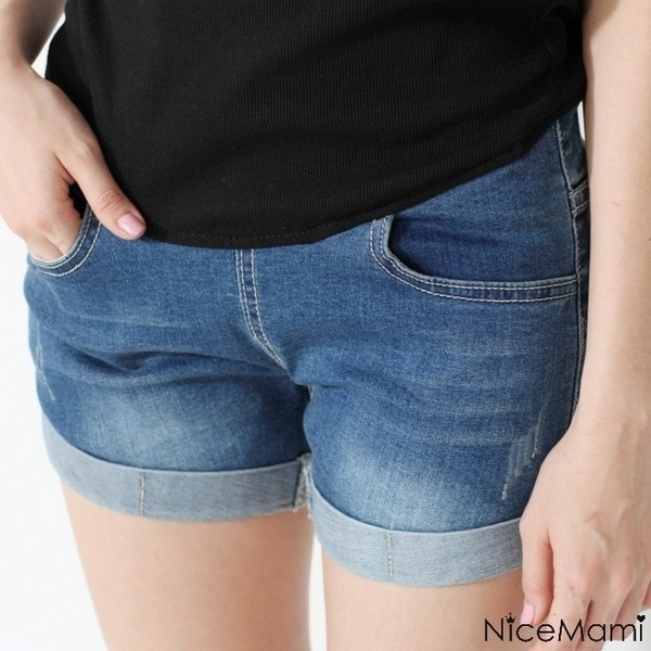 漂亮小媽咪 韓版托腹褲 【P086YS】 牛仔短褲 反折 牛仔褲 托腹短褲 孕婦 熱褲 孕婦短褲托腹褲