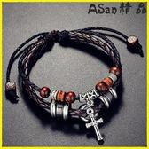 銀手鍊 手鍊十字架潮人皮繩個性運動飾品