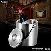 冰桶 不銹鋼冰桶紅酒冰桶 雙層保溫香檳冰桶啤酒冰桶 限時搶購