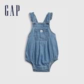 Gap嬰兒 俏皮花邊吊帶牛仔包屁衣 681796-中度水洗藍