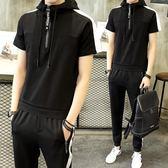 男運動套裝短袖T恤夏季新款衣服潮流兩件套裝韓版寬鬆連帽 FR8222『俏美人大尺碼』