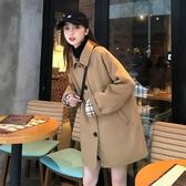 秋冬2019新款復古寬鬆中長款小個子英倫風氣質長袖風衣毛呢外套女