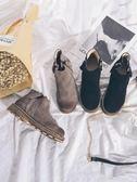 秋冬女短靴平底低跟復古馬丁靴女粗跟拉鏈裸靴及踝靴女靴單靴  晴光小語