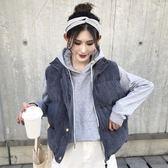 秋冬女裝2018新款時尚寬鬆棉衣馬甲學生黑色外套休閒坎肩背心上衣
