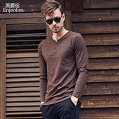 優惠快速出貨-秋季男士新品上衣時尚潮牌 歐美簡約舒適V領長袖T恤打底衫