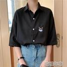 短袖襯衫 大碼短袖襯衫女夏設計感小眾復古港味學生寬鬆學院風百搭襯衣 2021新款