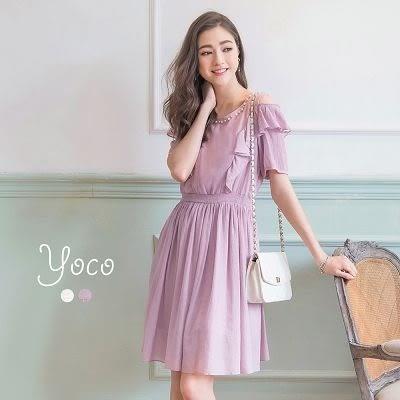 東京著衣【YOCO】歐式浪漫荷葉綴珠洋裝-XS.S.M(6016769)