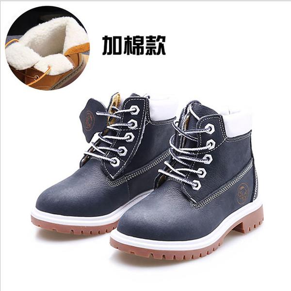 【Jingle】森林探險全牛皮質感親子馬丁靴(深藍色全尺碼)