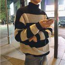經典潮流日系簡約粗條紋高領造型百搭保暖毛衣