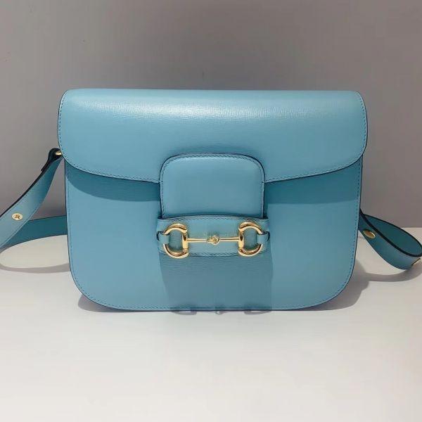■專櫃88折■ Gucci 全新真品 1955馬銜釦 Horsebit 小牛皮馬鞍包 知更鳥藍色